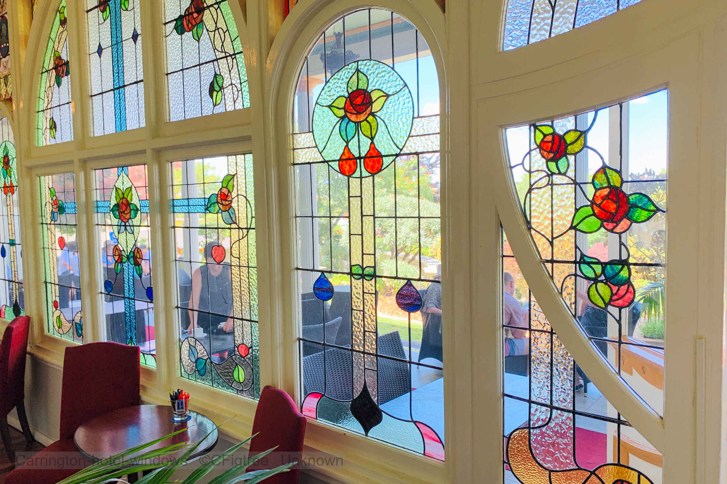 Stain glass windows at the Carrington Hotel, the Blue Mountains, Katoomba